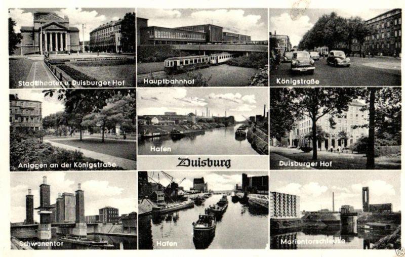 Foto AK, Duisburg, 9-Ansichten, 1956 0