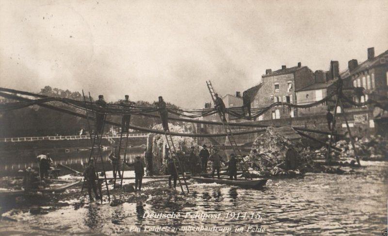 Foto-AK, Deutsche Feldpost Feldtelegraphentrupp im Felde, 1915 0