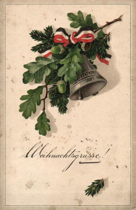 Patriotika AK, Weihnachtsgruß, Eichenlaub, Glocke, 1915 0
