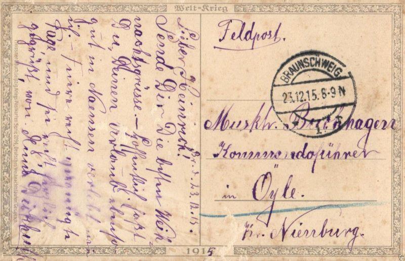 Patriotika AK, Weihnachtsgruß, Eichenlaub, Glocke, 1915 1