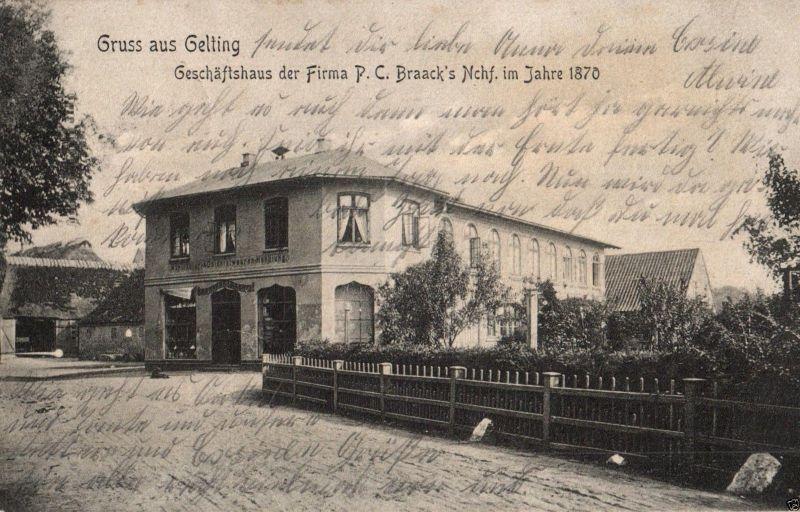 Foto AK, Gruss aus Gelting, Geschäftshaus der Firma Braack's, 1905 0