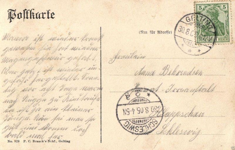 Foto AK, Gruss aus Gelting, Geschäftshaus der Firma Braack's, 1905 1