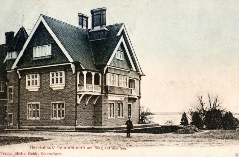 Foto AK, Eckernförde, Herrenhaus Hemmelmark Blick auf den See, 1906 0