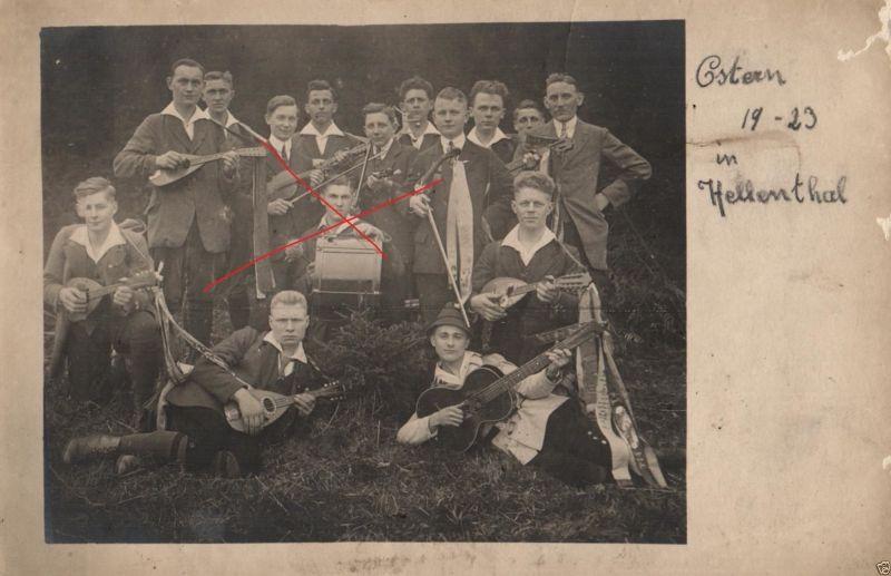 Originalfoto 9x13cm, Konzertverein Wesergold Holzminden in Hellental,1923