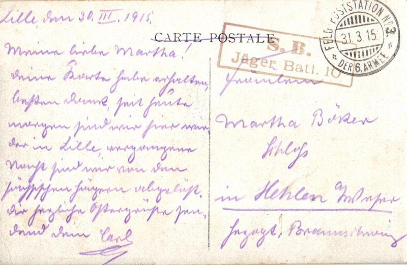 Foto AK, Dixmude, Stempel Jäger-Batl. 10, 1915 1