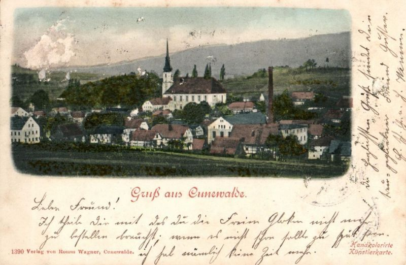 Foto AK, Gruss aus Cunewalde, Bahnpost, 1902 0