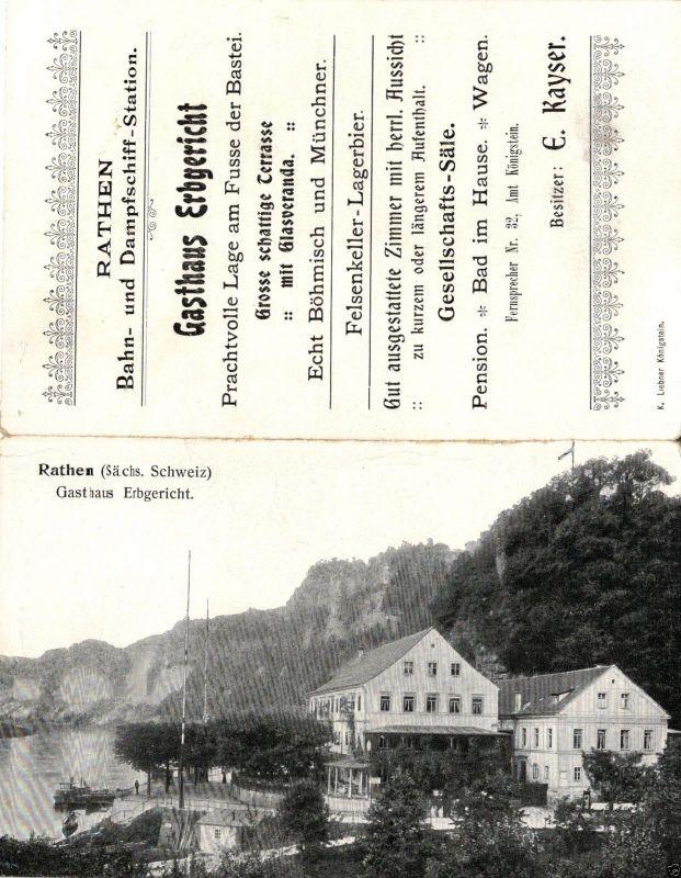 Foto AK, Rathen, Gasthaus Erbgericht, Werbekarte, ca. 1910 1