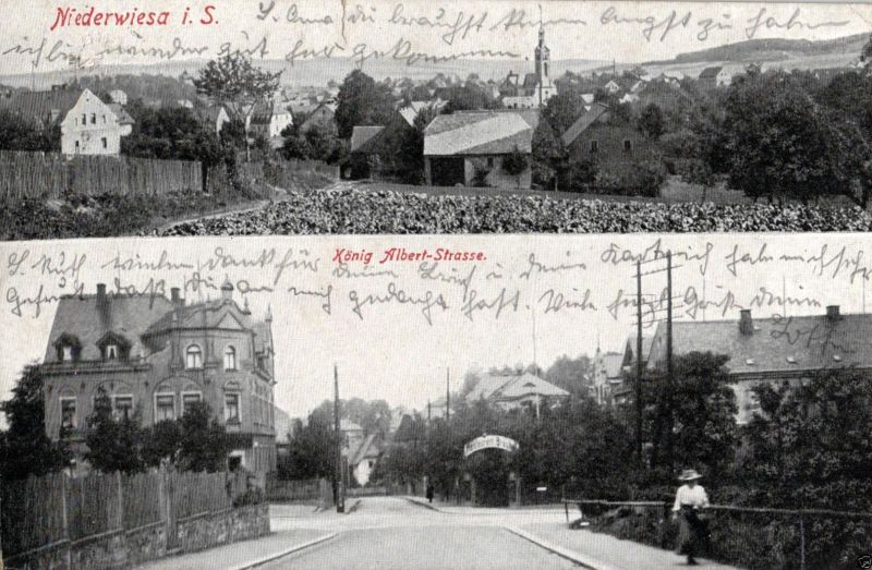 Foto AK, Niederwiesa i.S., König Albert-Strasse, 1930 0