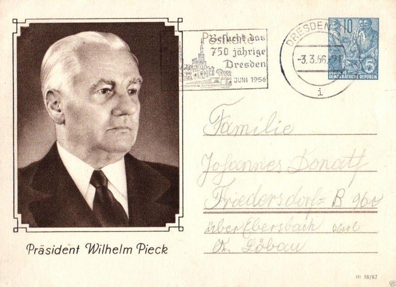 Ganzsache Wilhelm Pieck, 750 Jahre Dresden, 1956