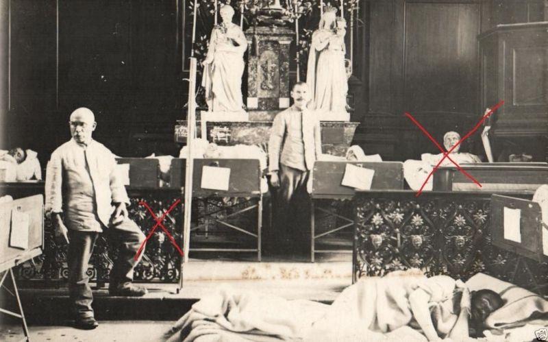 Originalfoto 9x13cm, Lazarett in einer Kirche