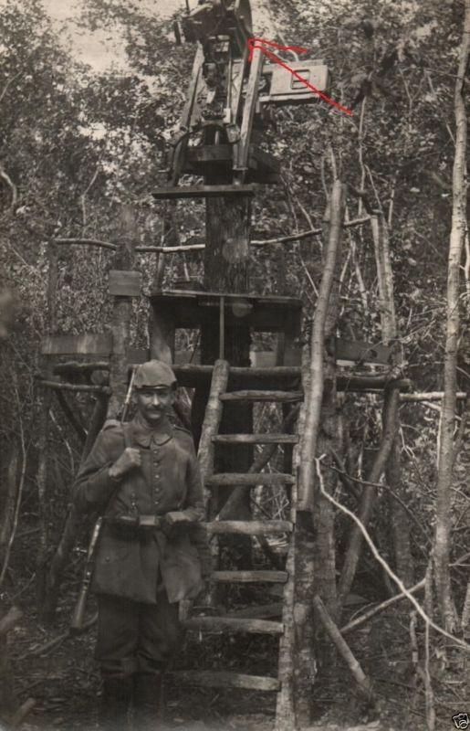 Originalfoto 9x13cm, Flak-MG-Stellung auf Baumstumpf, ca. 1916