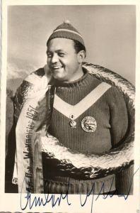 Autogrammkarte+Signatur Anderl Ostler Bob-Weltmeister Alpe d'Huez 1951Aut