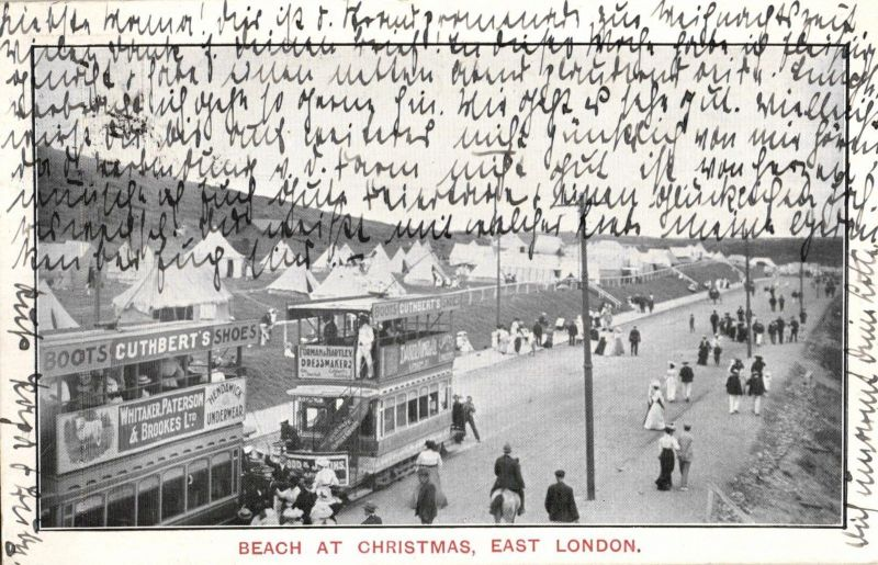 Foto AK, Südafrika, Beach at Christmas East London, Straßenbahn, 1908