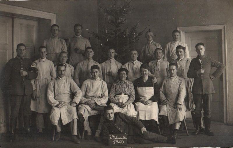 Originalfoto 9x13, Frühe Reichswehr Lazarett Weihnachtsfeier, 1923