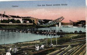 Foto AK, Grodno, von Russen zerstörte Brücke, 1917