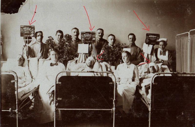 Originalfoto 9x13cm, Lazarett, Kopfwunden, Krankentafeln, 1918 0