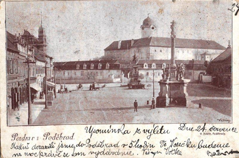 Foto AK, Podebrady, Markt, 1899