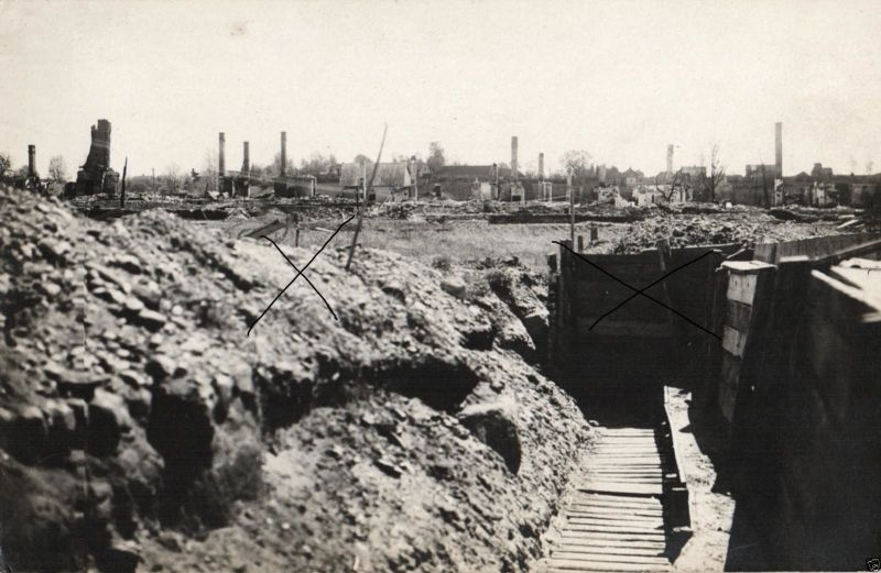 Originalfoto 9x13cm, Deutscher Schützengraben Bernaville, ca. 1915