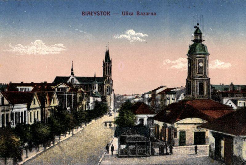 Foto AK, Bialystok, Ulica Bazarna, ca. 1910