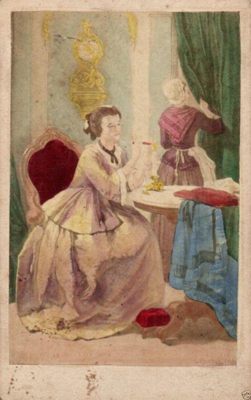 CDV 6x10cm, handkoloriert Carl Becker, Die Antwort, ca. 1870