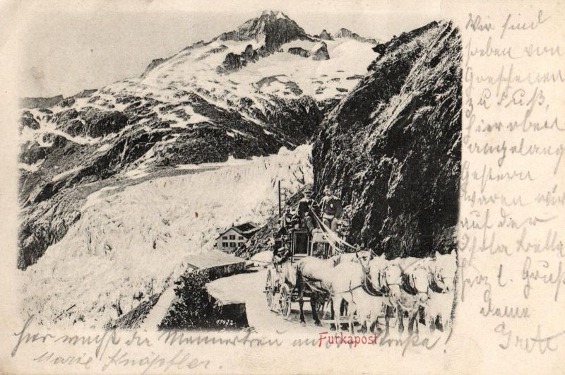 Foto AK, Furkapost, Furks Passhöhe, 1900