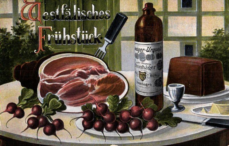Werbe AK, Steinhäger, Westfälisches Frühstück, Stempel, 1938