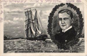 Künstler AK, Kapitän-Leutn. v. Mücke, Führer der Emden, 1916