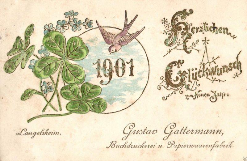 Werbekarte, Prägek., Gustav Gattermann Papierwarenfabrik, Langelsheim1901