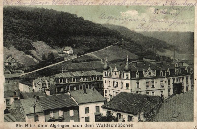 Foto AK, Blick über Algringen nach dem Waldschlößchen, 1916