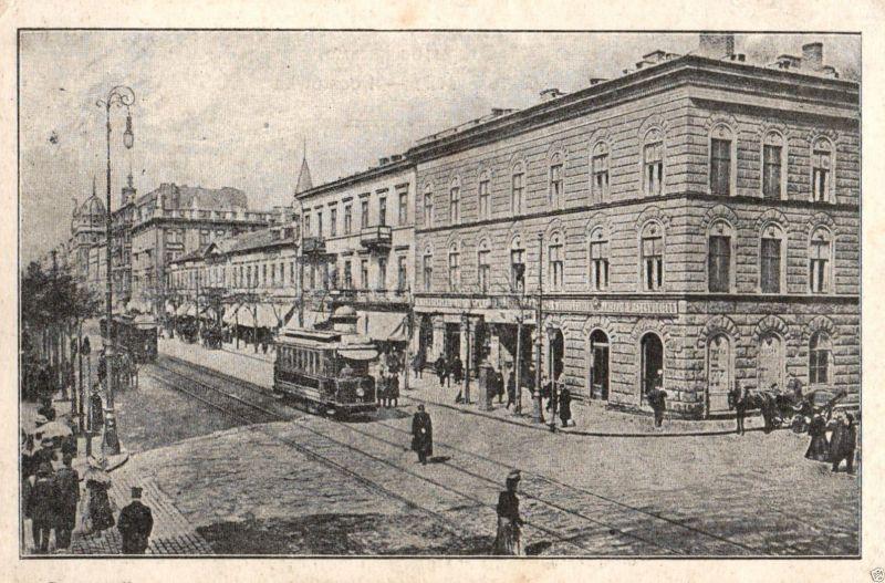 Foto AK, Warschau, Marszalkowska Str., Straßenbahn, 1915