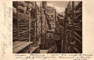 Originalfoto 9x13, Schützengraben, Stempel Bayer. Res. Inf. Regt. 1, 1916