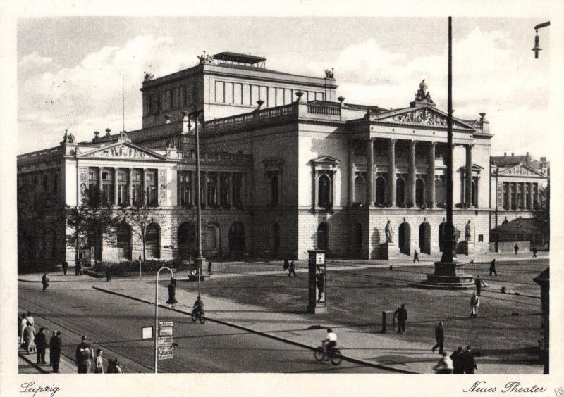 Foto AK, Leipzig, Neues Theater, Luftpost befördert Stempel, 1942 0