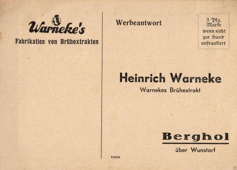 Werbekarte, Warneke's Fabrikation von Brühextrakten, Bergholz, ca. 1930