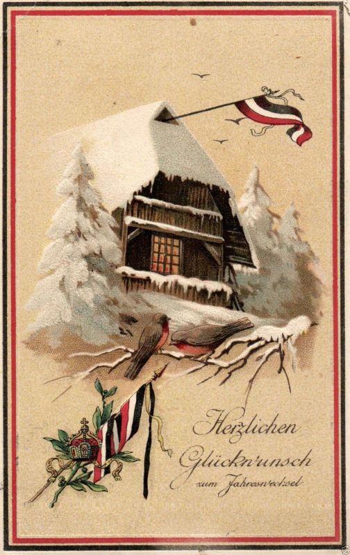 Prägekarte Glückwunsch zum Jahreswechsel, Patriotika, Fahnen