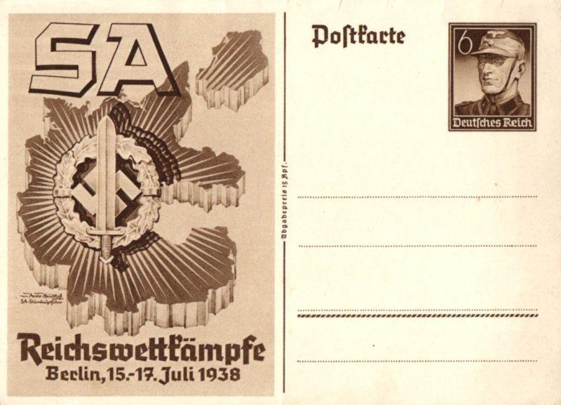 7854/ Ganzsache, SA Reichswettkämpfe, Berlin 15-17 Juli 1938