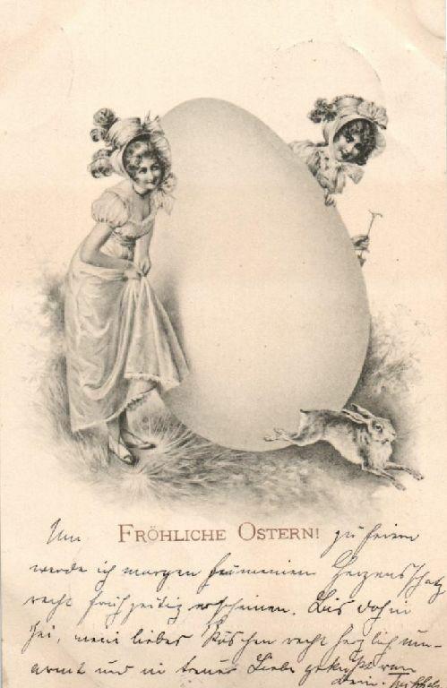 Glückwunschkarte, fröhliche  Ostern, Osterei, 1900