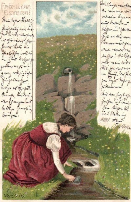 Glückwunschkarte Künstlerkarte Mailick, fröhliche  Ostern, 1900