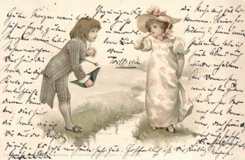 Künstlerkarte Aquarell Postkarte, Kinder, Serie II Nr. 5136, 1899