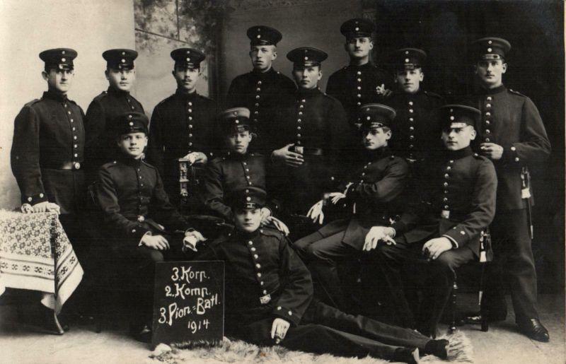 Originalfoto 9x13, Soldaten 2.Komp. Pion-Batl. 3 Ingolstadt, 1914
