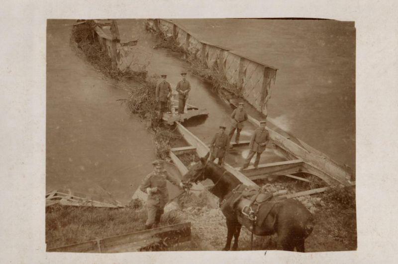 Originalfoto 9x13, zerstörte Brücke über den Oise-Kanal