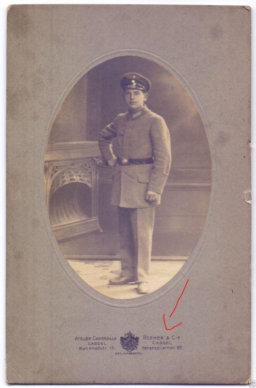 CDV 10,5x16,5cm, Soldat Kassel, ca. 1915