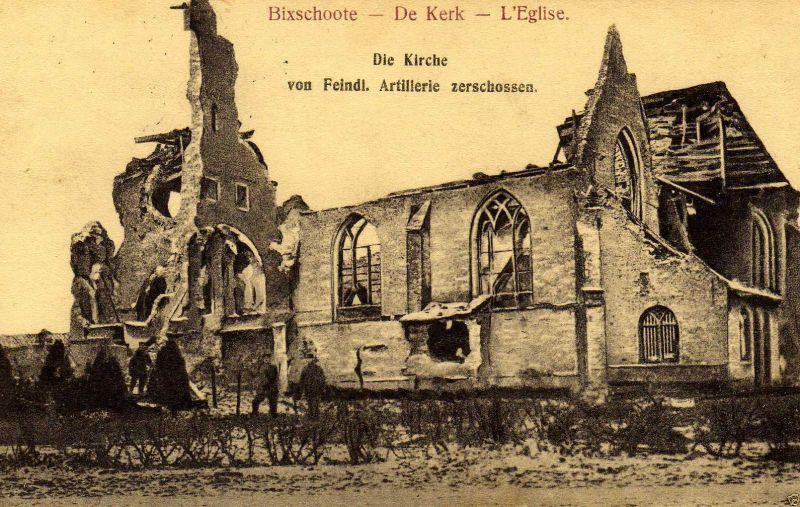 Foto AK, Bixschoote zerst. Kirche, Stempel RIR 240, 1916
