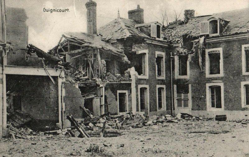 Foto AK, zerstörtes Guignicourt, 1916