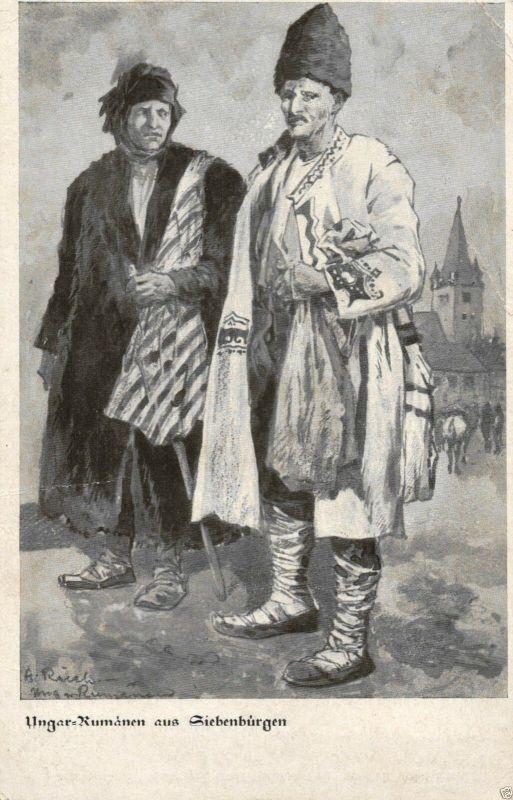 Künstler AK, Ungar-Rumänen aus Siebenbürgen, Feldpost 1917