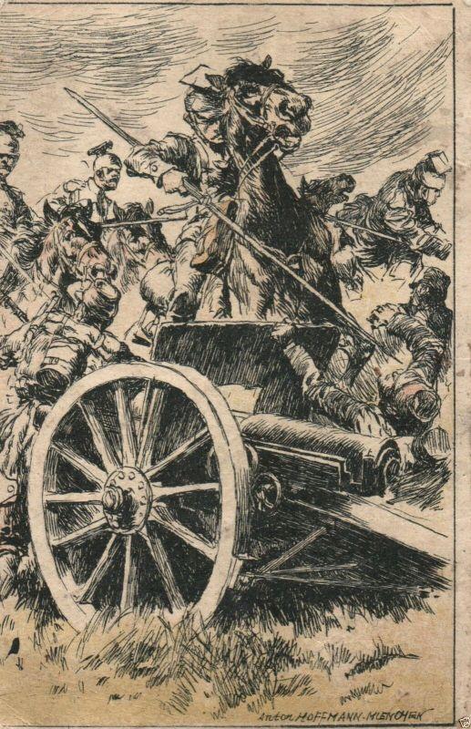 Künstler AK Hoffmann, Ulanenattacke, Stempel IR 208, 1916