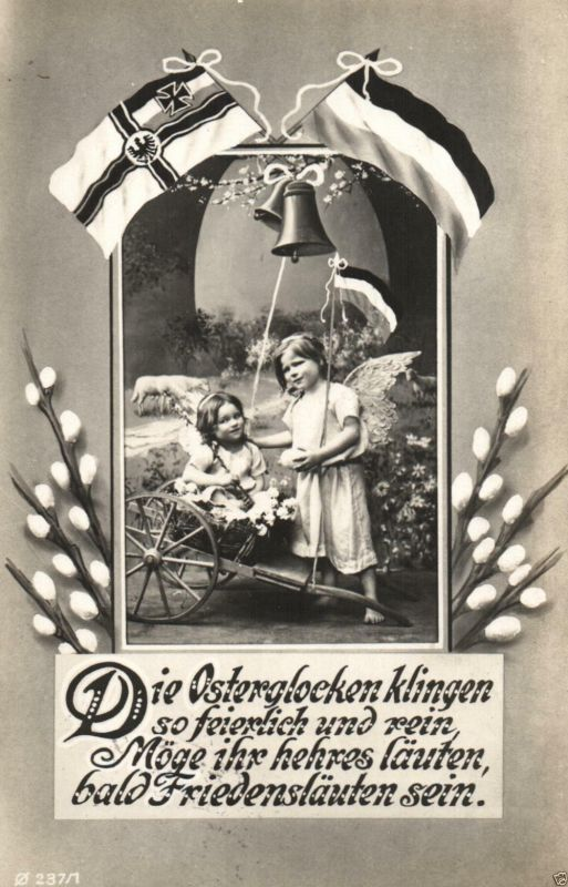 Patriotika AK, Ostergruß, Kriegsflagge,1915