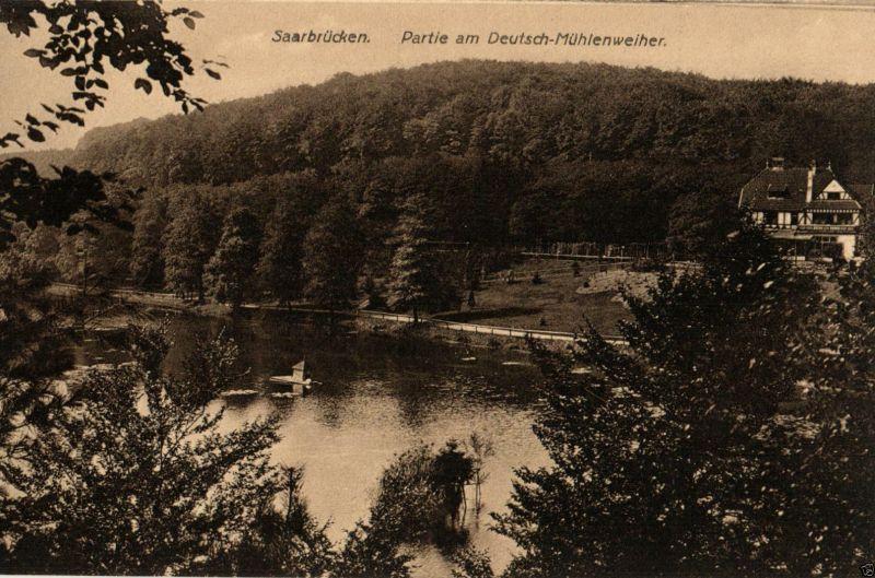 Foto AK, Saarbrücken, Partie am Deutsch-Mühlenweiher ca. 1910