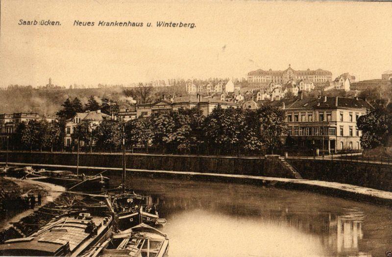 Foto AK, Saarbrücken, Neues Krankenhaus und Winterberg ca. 1910