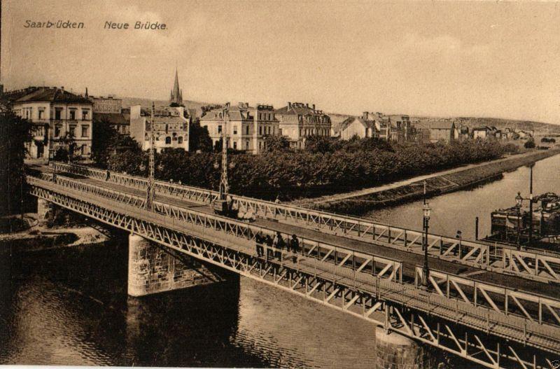 Foto AK, Saarbrücken, Neue Brücke, ca. 1910