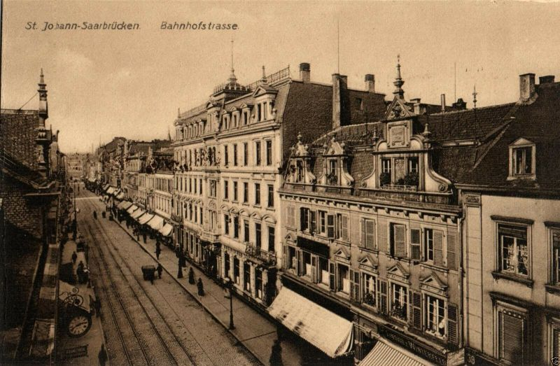 Foto AK, Saarbrücken St. Johann, Bahnhofstrasse, ca. 1910